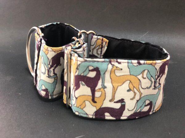 Collar Martingale con estampado galgos de colores